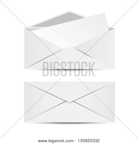 White open and closed isolated envelopes. Vector set of envelopes. Clean style