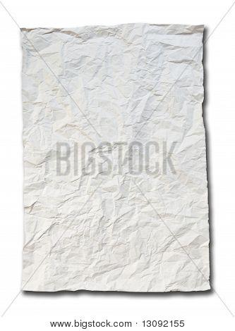 Tarnish White Crumpled Paper On White Background Isolated