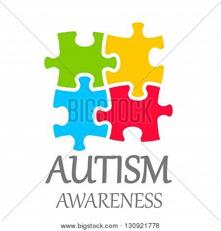Vector world autism awareness day poster on white background