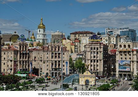 KYIV UKRAINE - MAY 17 2015. View of Maydan Nezalezhnosti (Independence Square) Kyiv Ukraine