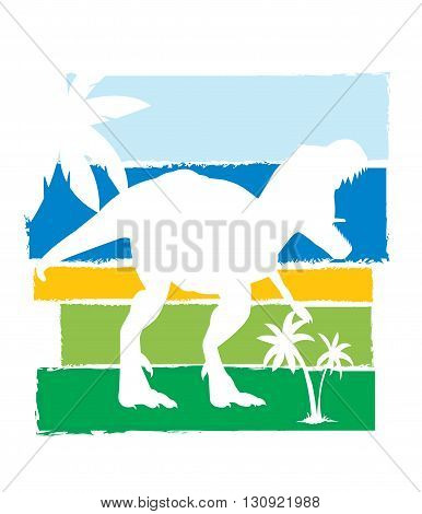 Dinosaur silhouette on colorful background. Vector illustration.