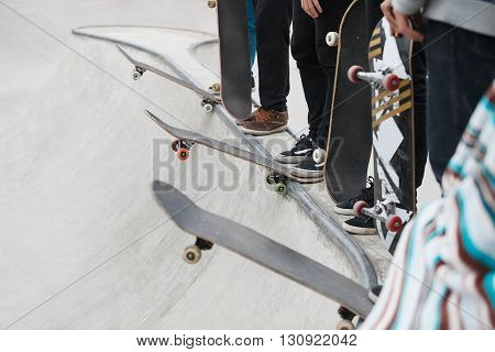 Skateboarders Competition In A Skate Park