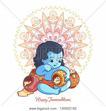 Little cartoon Krishna with a pot of makhan. Greeting card for Krishna birthday. Vector illustration isolated on a white background.