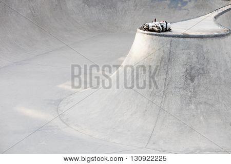 Aggressive Inline Skates In Skate Park
