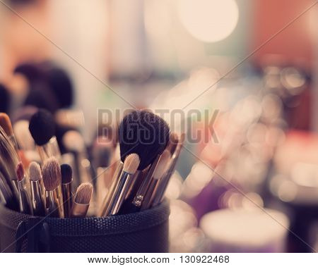 Complete set of professional brushes of any size for visage.Modern hipster colors