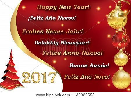 Happy New Year 2017 image with message in many languages: English, Spanish, German, Dutch, Italian, French and Portuguese. Contains Christmas tree and baubles.