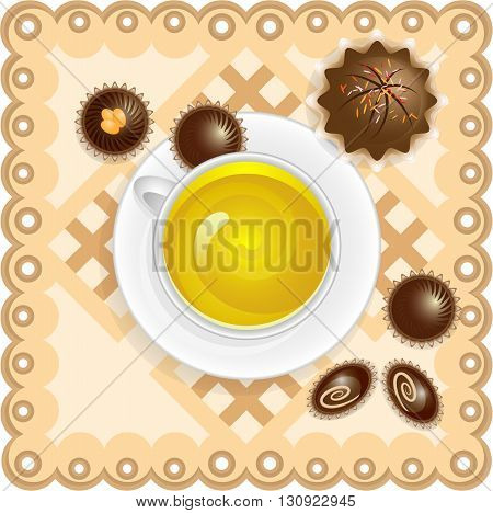 Tea with sweets and cakes on a napkin