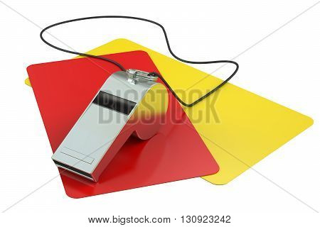 Football referee attributes 3D rendering isolated on white background