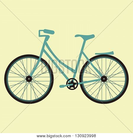 Vector illustration bicycle on the yellow background