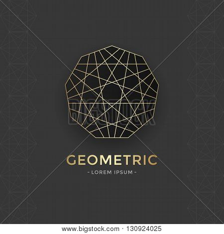 Sacred Geometric emblem with gold line. Vector abstract sacred symbol.