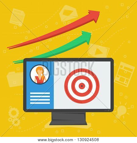 Vector flat business background. Concept personal account in internet services. Monitor with app, information, arrows, target in center, idea lamp, graphics. On yellow background