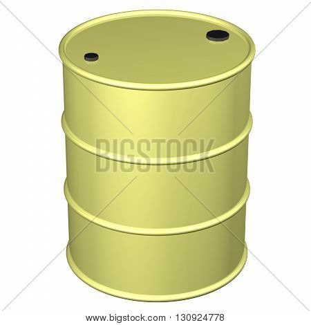 Yellow barrel isolated on white background. 3D rendering.