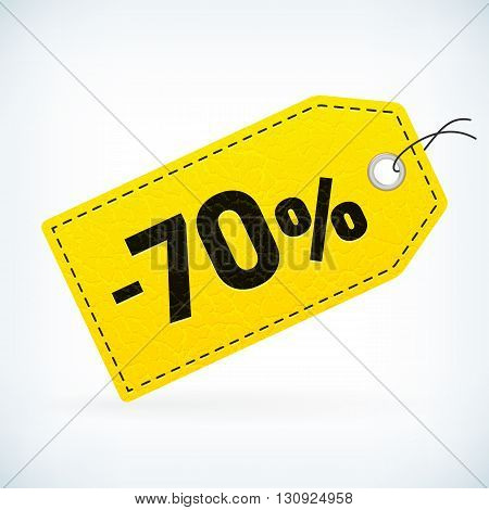 Yellow leather business sale -70% vector label. Business sale off detailed label. Isolated from background. Editable business sale label.