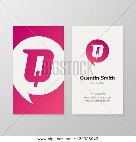 Modern letter Q in speech bubble Business card template. Vector business personal card design. Layered editable.