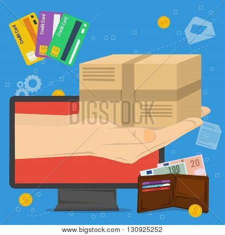 Vector concept fast delivery service. Cargo transportation, parcel delivery. Money and credit cart. Hand from monitor computer with postbox. Flat style. Web infographic