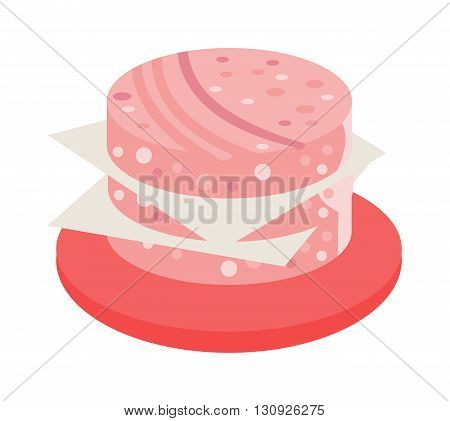 Salami sausage slices isolated on white background. Salami slice flat vector and salami slice food. Salami slice smoked sausage food meat. Gourmet cut appetizer red spice delicious salami tasty food.