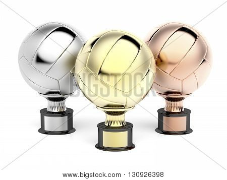 Volleyball trophies for first second and third place, 3D illustration