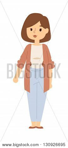 Lifestyle portrait mom and mother portrait happiness meadow. Mother portrait vector illustration and cheerful mother portrait loving caring sweet woman. Motherhood baby mom parenting character.