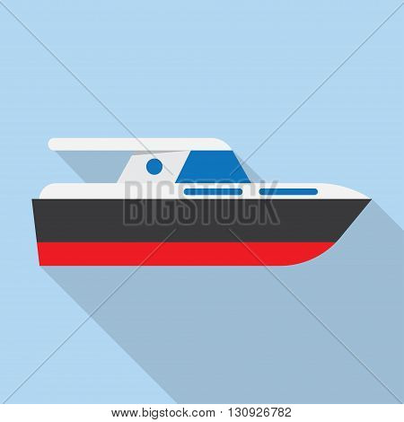 Yacht boat sign icon vector illustration. Flat design style with shadow