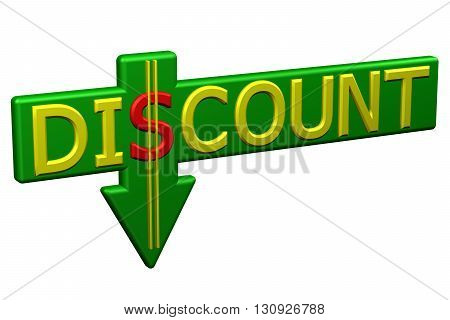 Concept: word discount with arrow isolated on white background. 3D rendering.