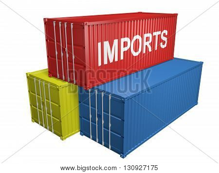 Red, yellow, and blue shipping containers for foreign imports, 3D rendering