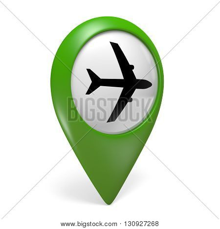 Green map pointer icon with a plane symbol for airports, 3D rendering