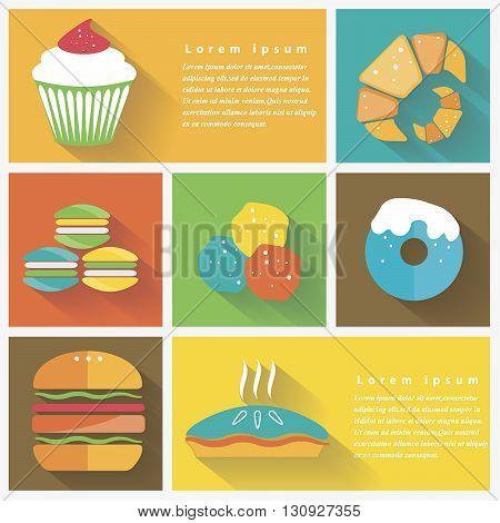Vector illustration bright colourfull set of food