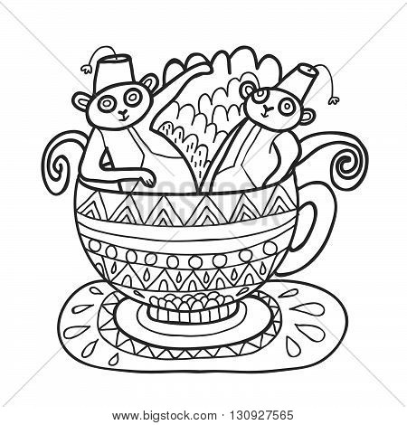 Maharaja Garden capuchin monkeys in tea cup for coloring. Adult coloring page.