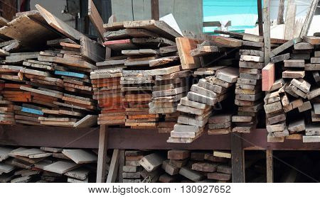 Wood Pile. Stack Of Old Wooden Bars