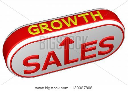 Concept: words sales and growth with arrow isolated on white background. 3D rendering.