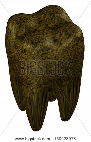 Rotten human tooth isolated on white background. 3D rendering.
