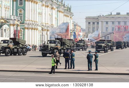 St. Petersburg, Russia - 9 May, Division multiple rocket launchers in the Victory Day parade, 9 May, 2016. Festive military parade on the Palace Square in St. Petersburg.