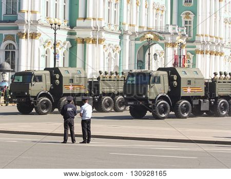 St. Petersburg, Russia - 9 May, Multifunction military trucks at the parade, 9 May, 2016. Festive military parade on the Palace Square in St. Petersburg.