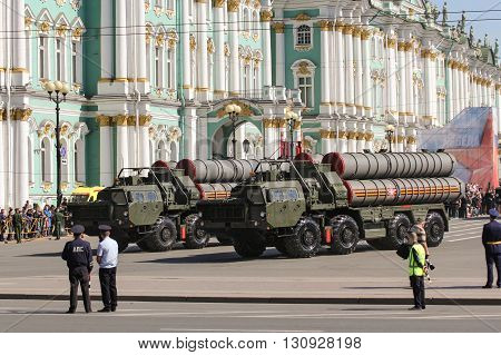 St. Petersburg, Russia - 9 May, Strategic missile systems against the backdrop of the Winter Palace, 9 May, 2016. Festive military parade on the Palace Square in St. Petersburg.
