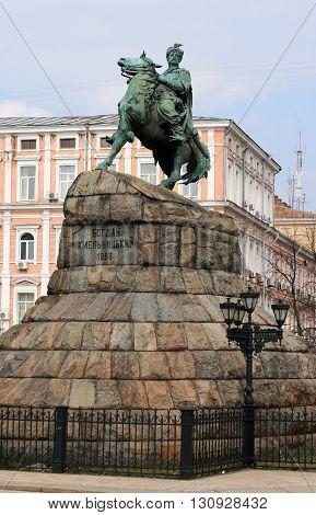 Statue of Bohdan Khmelnytsky in the Kiev city center, Ukraine