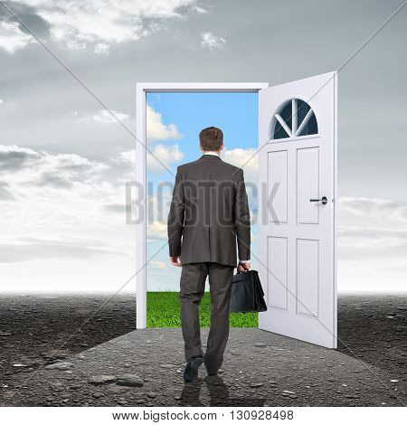Businessman in grey reality with door in colorful nature, rear view