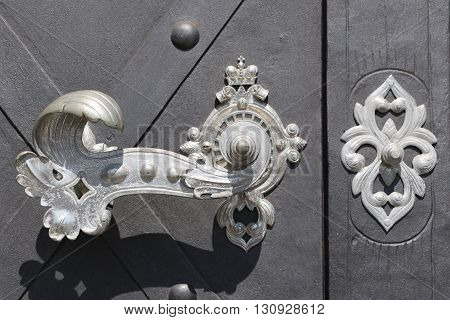 Detail of an old and ancient door in the city of Prague