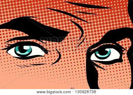 Retro male blue eyes pop art pop art retro vector. Look man illustration. Blue eye color retro vector