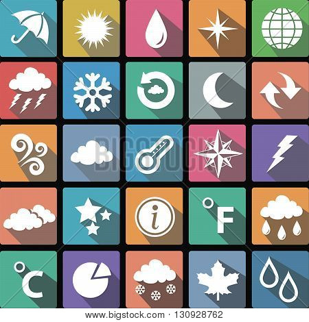 Vector illustration of a set of flat icons of weather