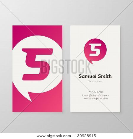 Modern letter S in speech bubble Business card template. Vector business personal card design. Layered editable.