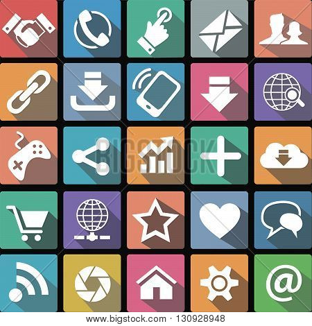 Vector illustration of a set of flat icons of communication