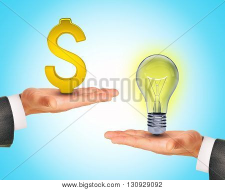 Light bulb in hands with dollar sign. Business concept