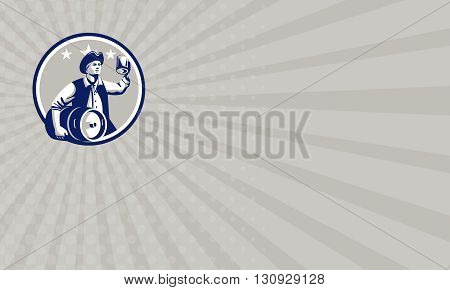 Business card showing illustration of an American Patriot holding a beer mug toasting while carrying beer keg set inside circle with stars in the background done in retro style.