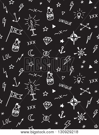 Vector pattern with old school tattoo elements. Seamless background. Black and white.
