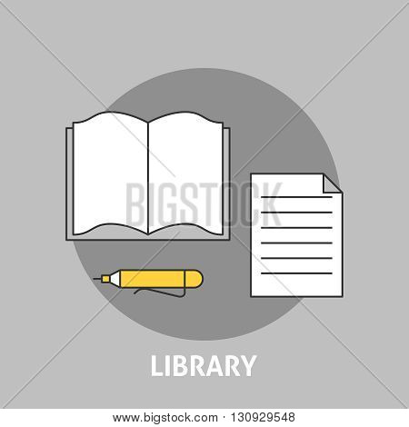 Library concept outline icons. Open book with note and pen illustration