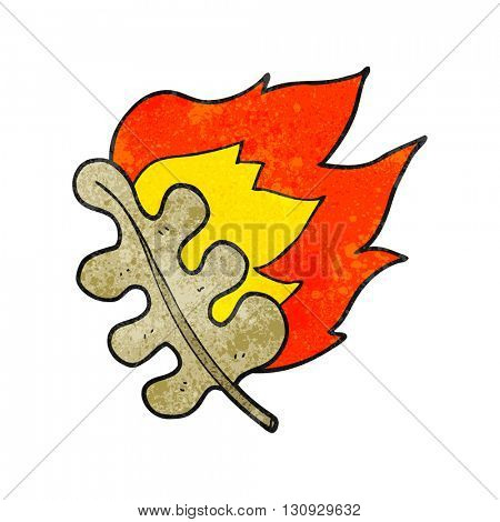 freehand textured cartoon burning dry leaf