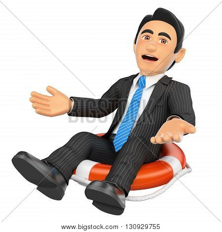 3d business people illustration. Businessman sitting in a lifesaver. Bankrupt company. Isolated white background.