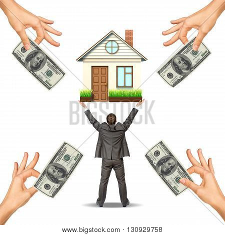 Businessman holding house and hands offering money, isolated. Loan concept