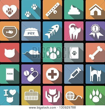 Vector illustration of a set of flat icons of veterinary