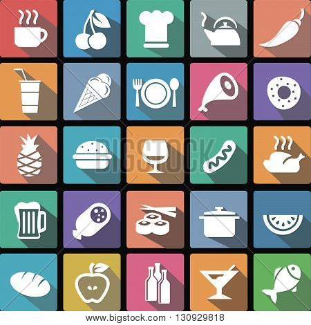 Vector illustration flat icons collection of food and beverages